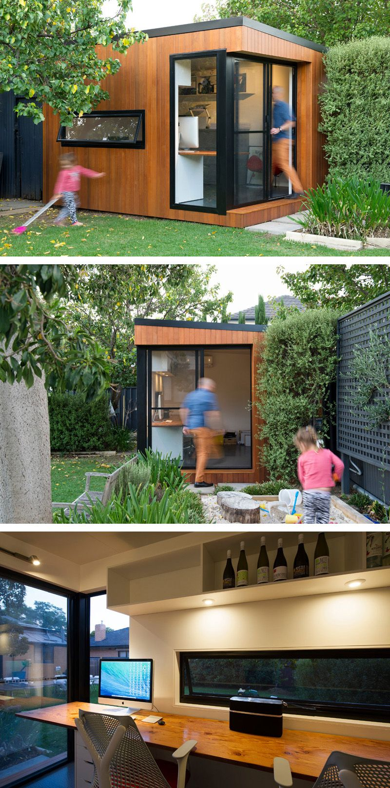 inoutside creates a small backyard office mid century remodel