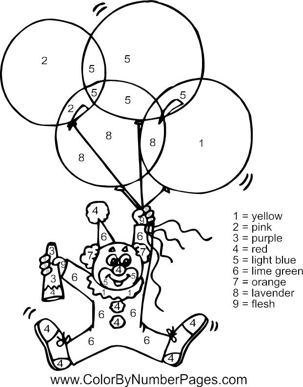 clown color by number page colorpages coloring coloringpages