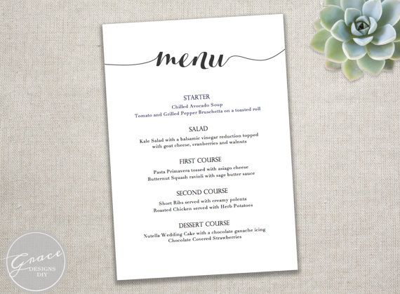 Printable Black Menu template   Calligraphy Style Script  Instant - dinner party menu template