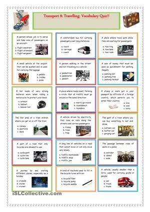 Transport and Travelling Vocabulary Quiz BOARD GAMES - free printable quiz