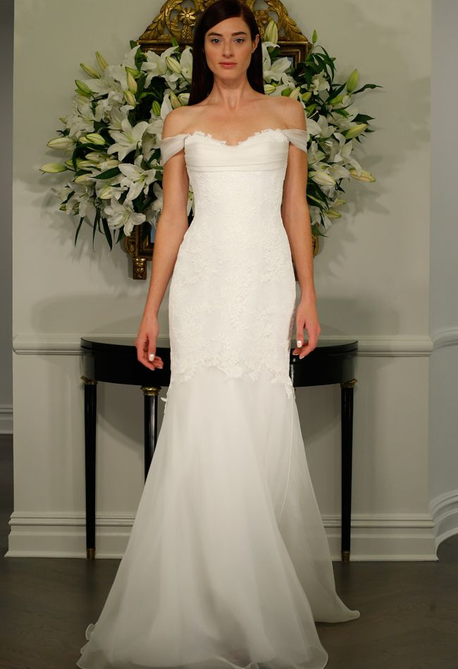 Lace fitted off shoulder wedding dress