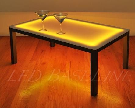 22 Led Lighted Color changing Coffee Table Display Glass Coffee