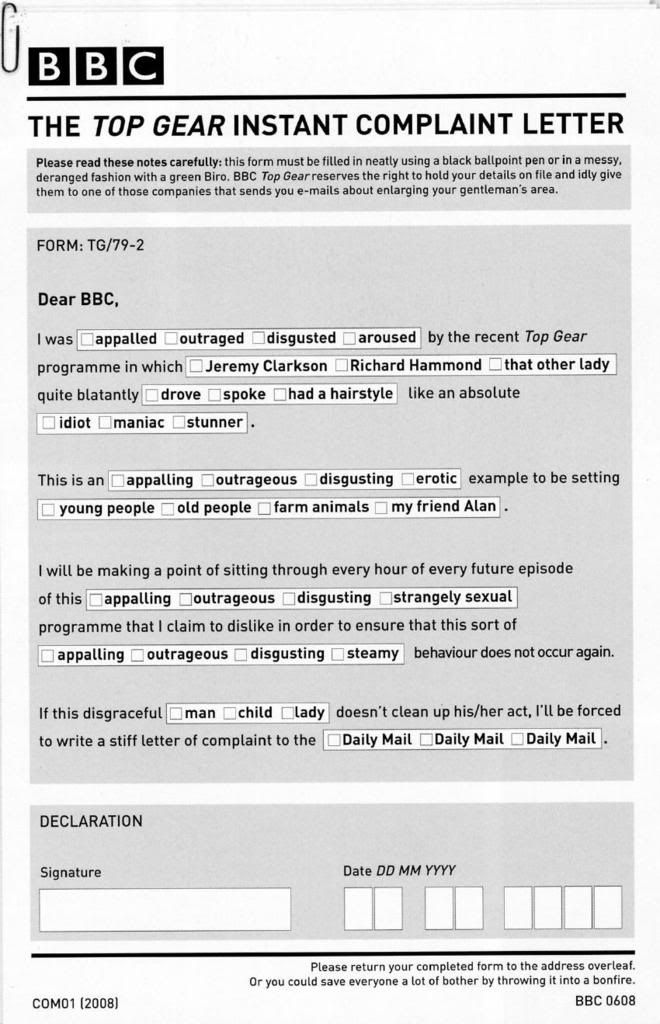 Top gear instant complaint letter Top gear, Humor and Stuffing - complaint form