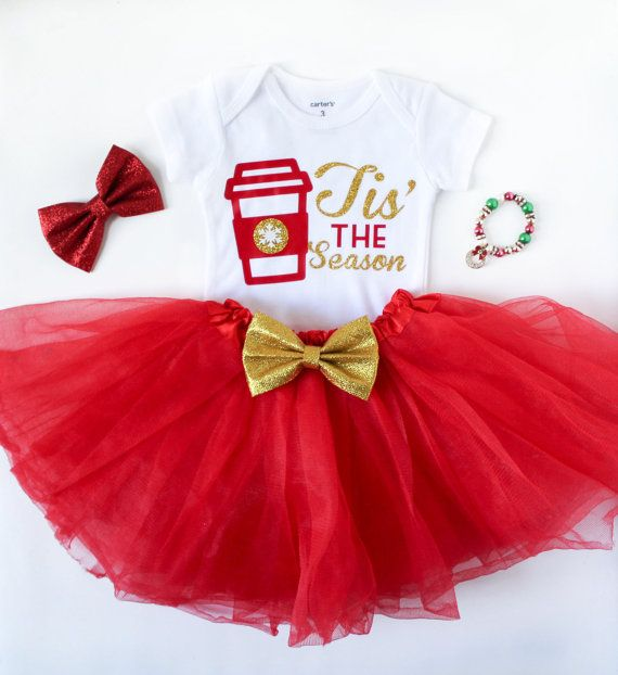 Baby girls tis the season Christmas outfit Baby shower Pinterest