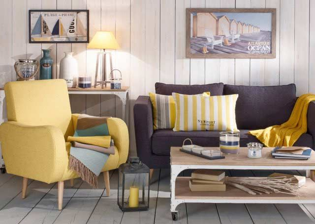 maisons du monde canape gris fauteuil jaune esprit bord de. Black Bedroom Furniture Sets. Home Design Ideas