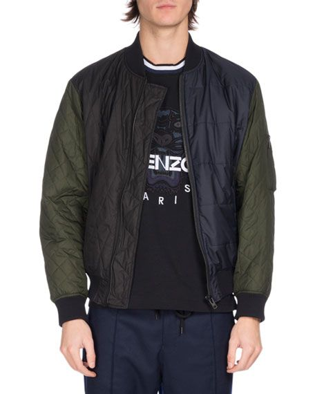 2cfb703b KENZO Quilted Colorblock Bomber Jacket, Navy. #kenzo #cloth ...