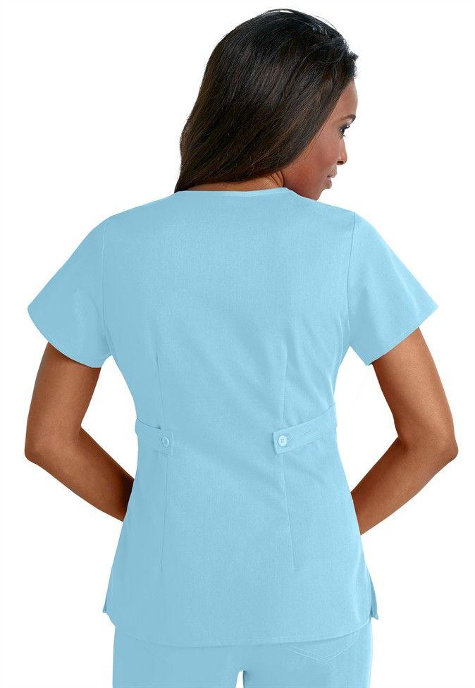Greys Anatomy 3-pocket mock-wrap scrub top in Sky Blue | Scrubs and ...