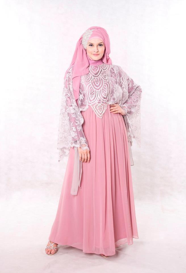 Baju Pesta Muslimah Modern Dusty Pink Shoping Model Kebaya