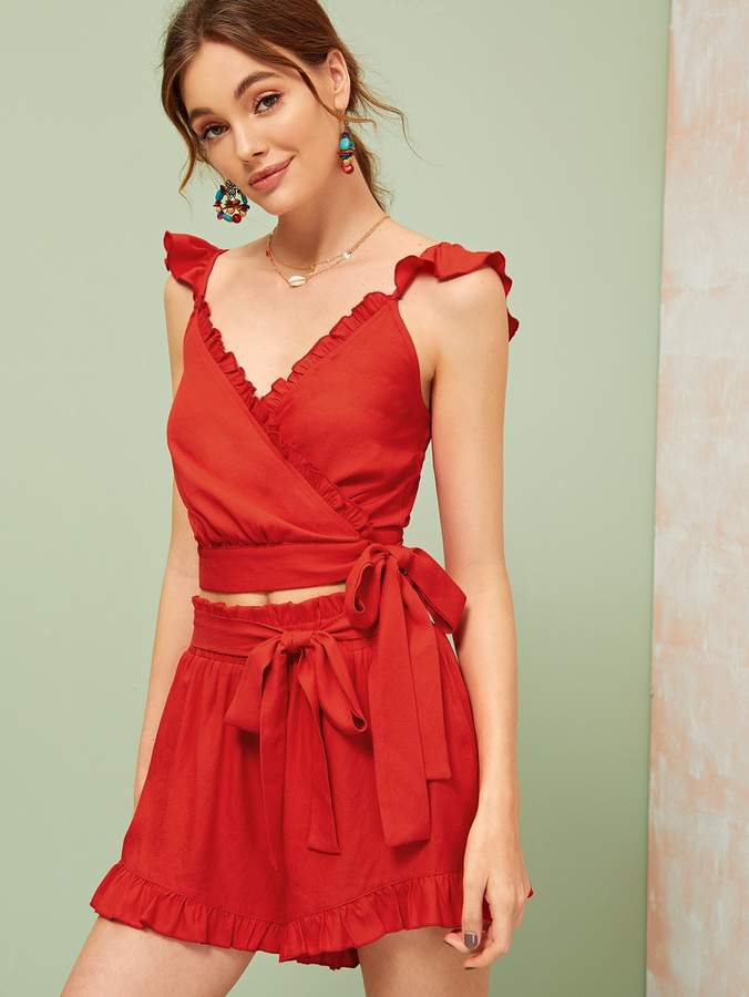 58d02eaa1b Shein Frilled Surplice Neck Knot Top & Paperbag Waist Shorts Set Shein  Frilled Surplice Neck Knot