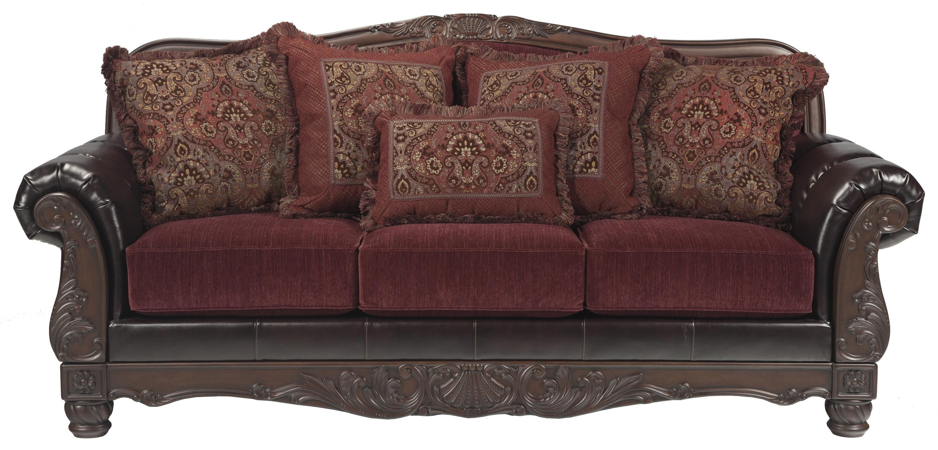 Weslynn Place Burgundy Traditional Sofa In Fabric Faux Leather By Benchcraft Part Of The Collection Sku 8240238