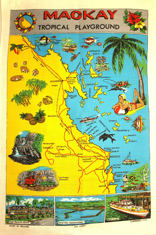 Vintage Australian Kookaburra Tea Towel - 70s Polish Linen Cotton ...