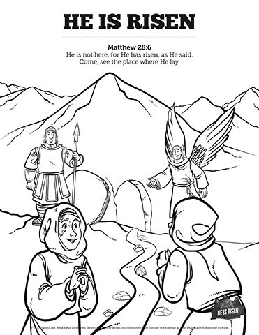 Matthew 28 He Is Risen Easter Sunday School Coloring Pages Get