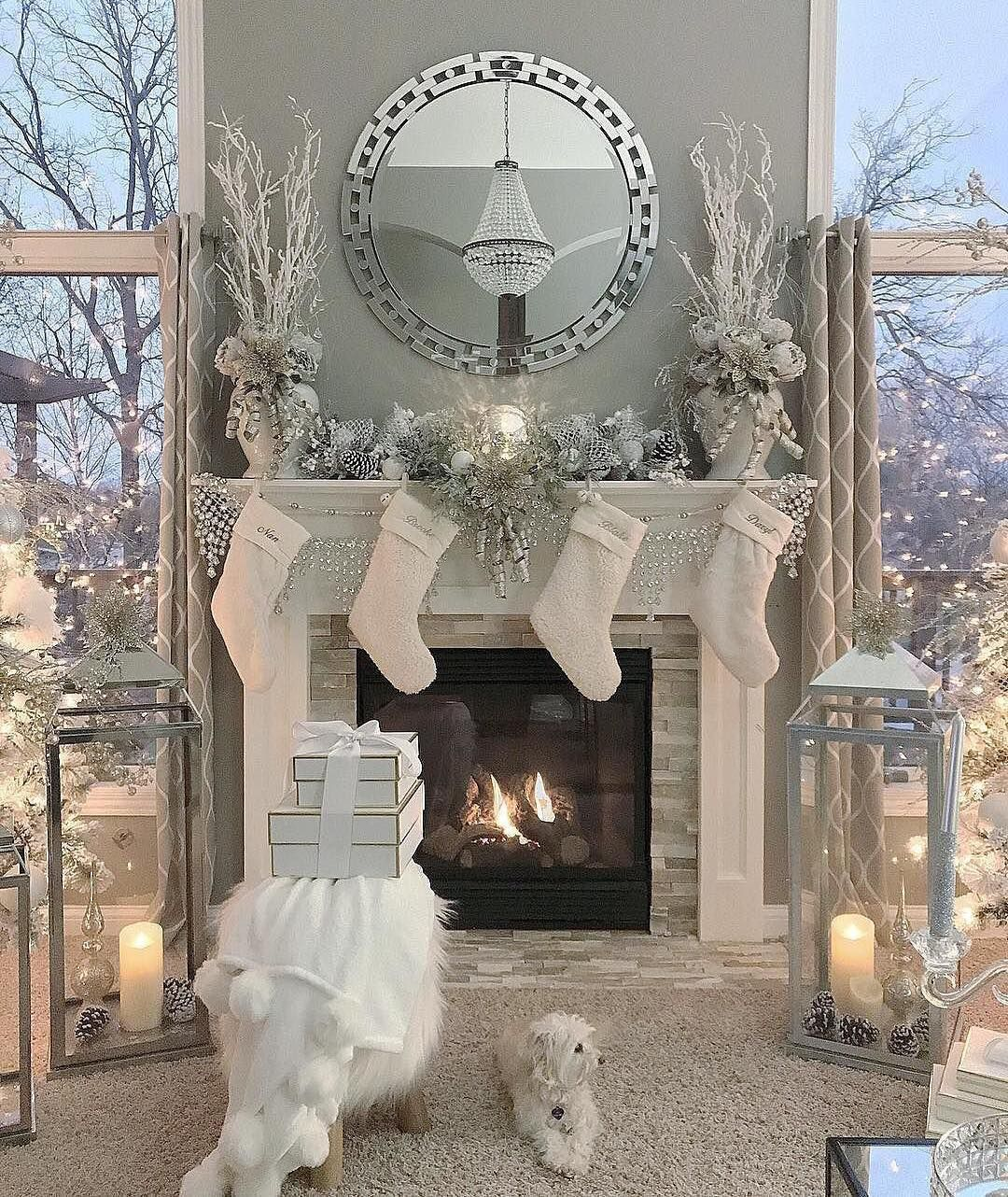 14 3k Likes 132 Comments Z Gallerie Zgallerie On Instagram Mirror Monday Christmas Mantel Decorations Christmas Fireplace Decor White Christmas Decor