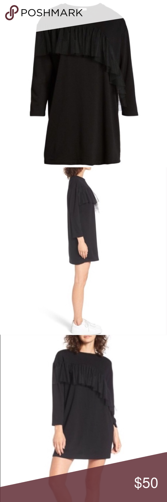 Nordstrom mesh front ruffle longsleeve dress nwt in my