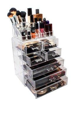 Acrylic 7 Drawer U0026 Top Organizer Cosmetics Makeup U0026 Jewelry Storage Case  Display Set