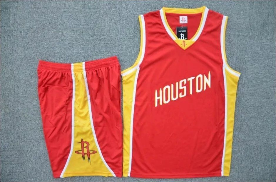 6d0e340d2e0d Men s Houston Rockets Red Custom Name Number Jersey Kits Adult Basketball  Uniforms