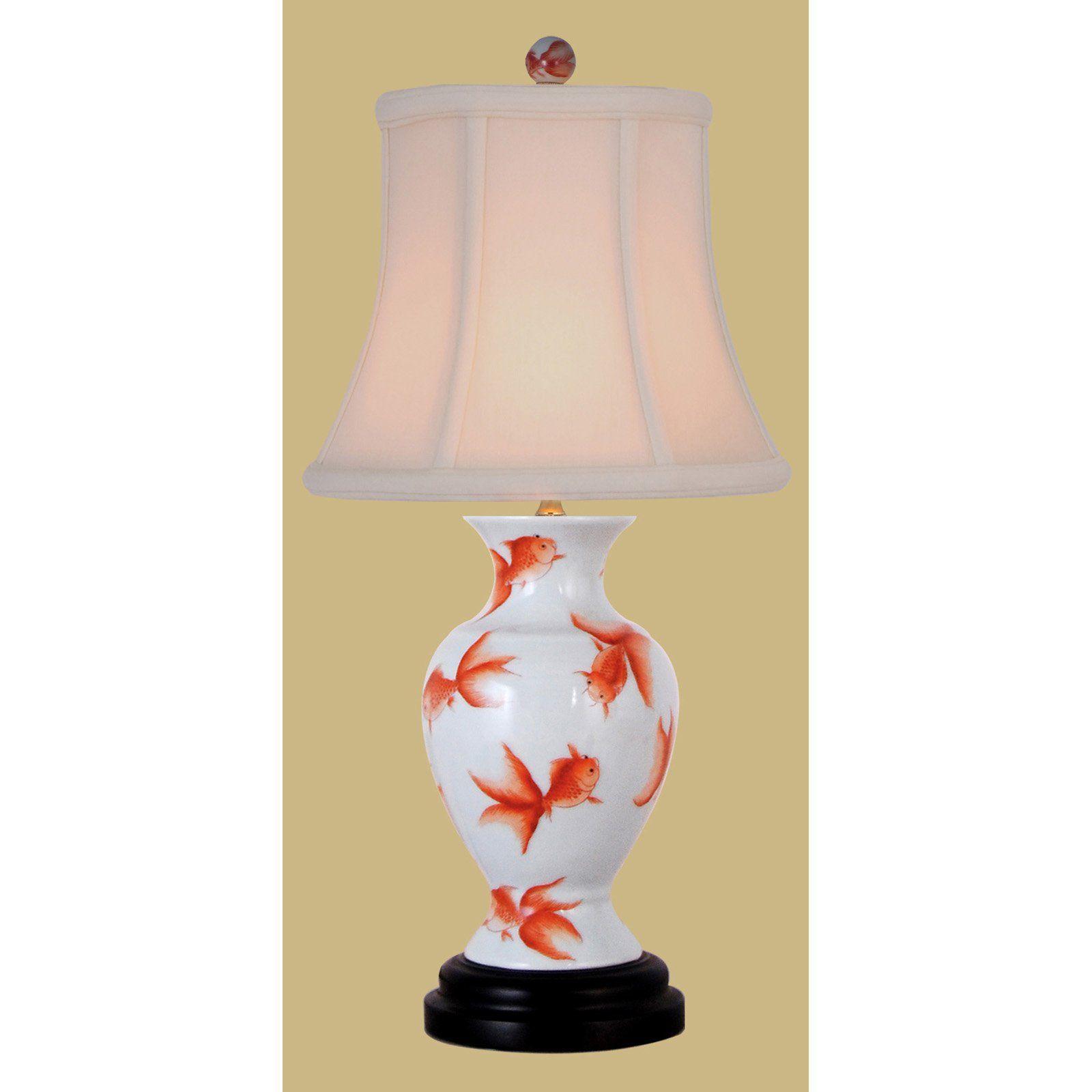 East Enterprises LPDHF107B Fish Vase Mini Table Lamp - White - LPDHF107B
