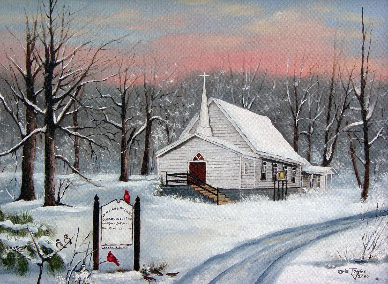 country church snow cardinals