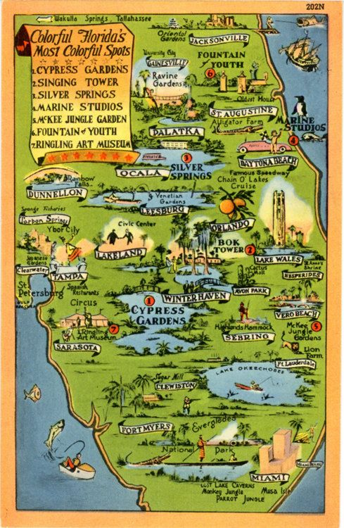 Silver Springs Florida Map.Colorful Florida State Map Cypress Gardens Silver Springs Vintage