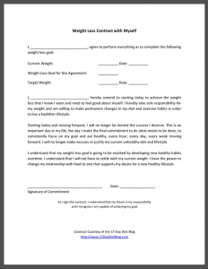 Weight Loss Contract To Myself -- click to get your Free Printable Weight Loss Contract.  Keep yourself more accountable to your self by signing a diet contract to ensure your weight loss success! #17DayDiet #WeightLossContract