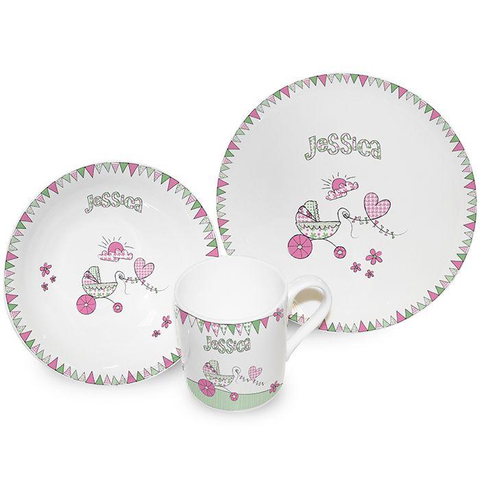 Pram Bunting Breakfast Set £26.95 · Baby BreakfastPersonalised ...  sc 1 st  Pinterest & Pram Bunting Breakfast Set £26.95 | Personalised Breakfast Sets ...