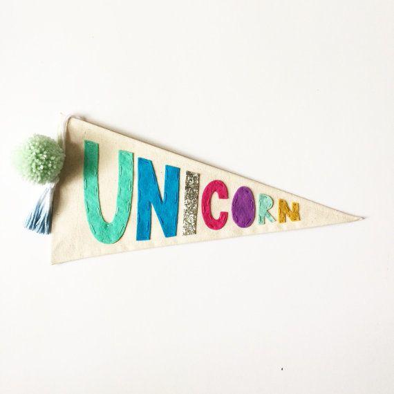Unicorn Pennant Flag - Canvas Felt Embroidered Wall Decor - Wall ...