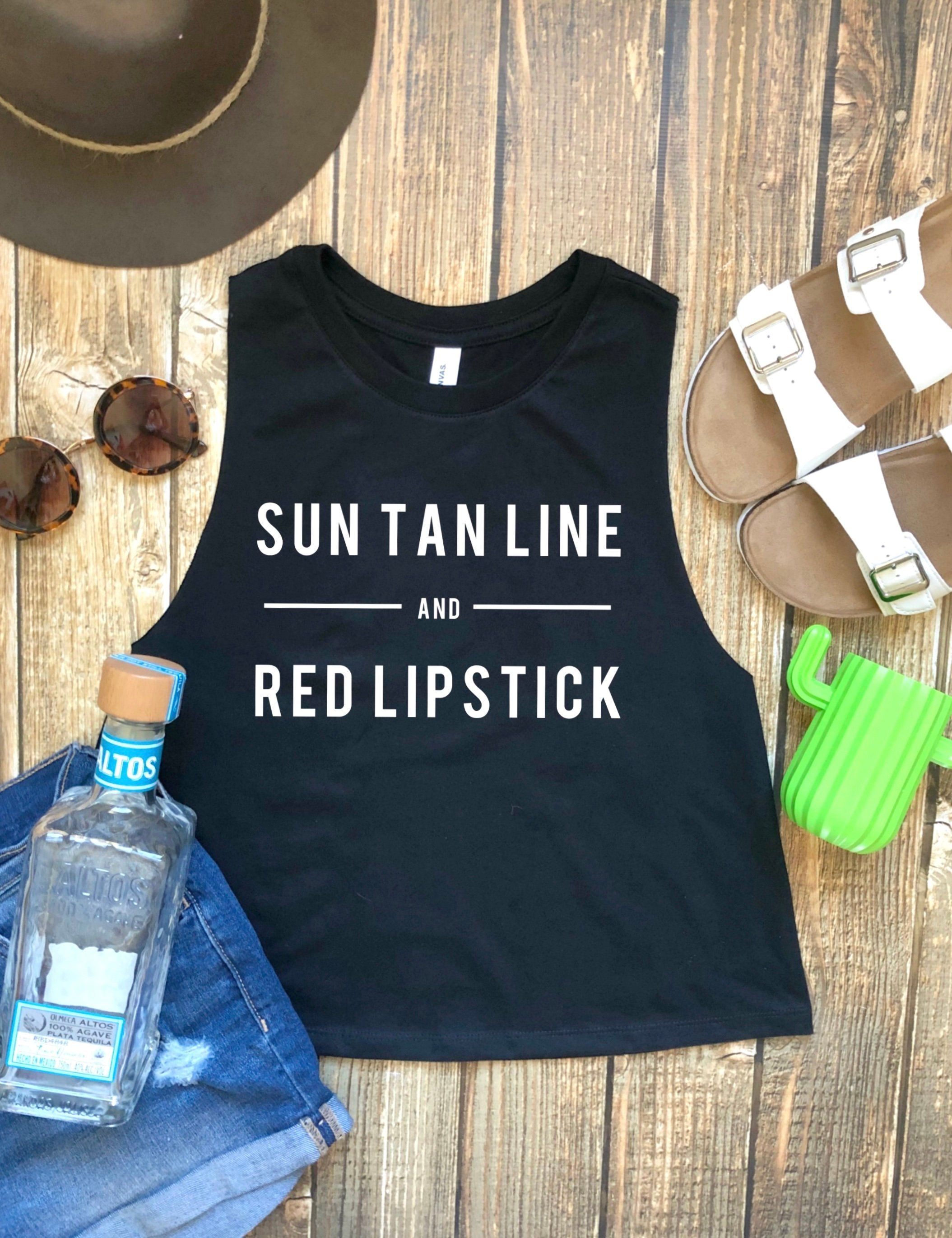 Sun Tan Line and Red Lipstick Cropped Tank, Country Music