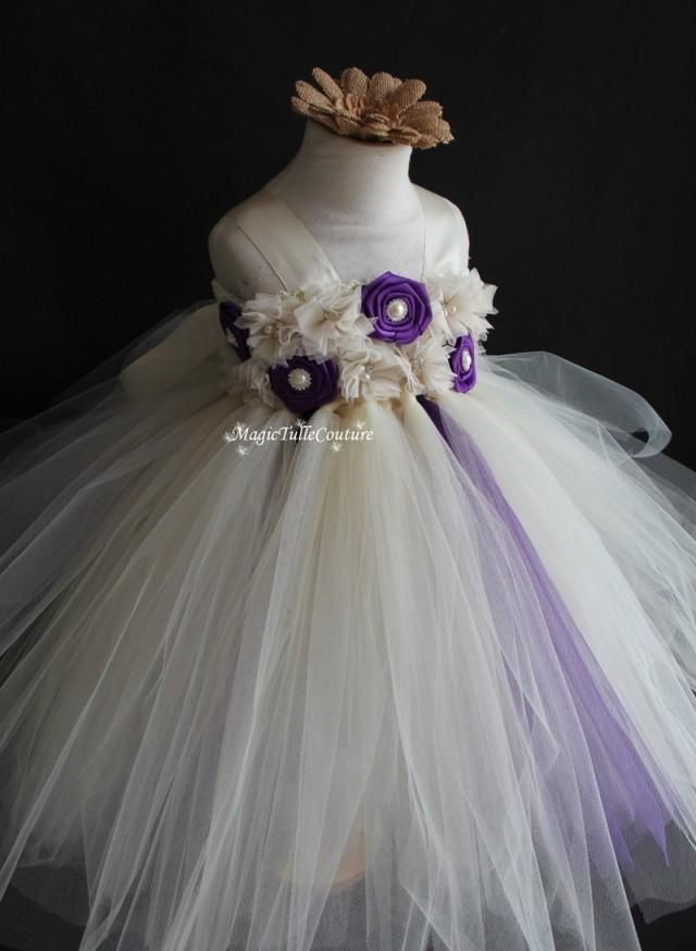 708193a3d Ivory and purple flower girl tutu dress wedding dress toddler dress  birthday party dress tulle dress 1t2t3t4t5t6t7t8t9t10t