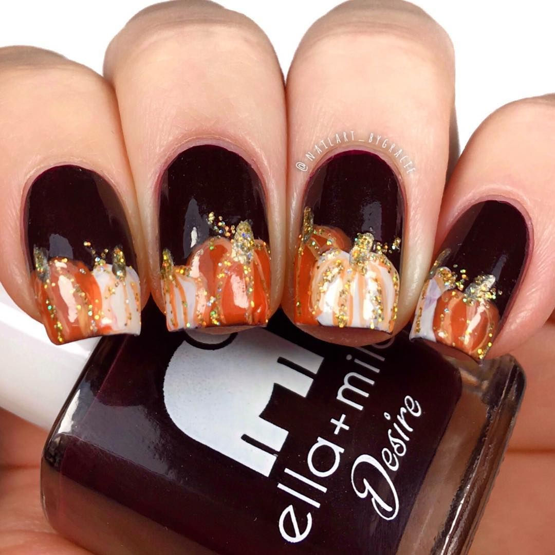 Glittery Pumpkin Nails Pumpkin Nails Pumpkin Nail Art Fall Nail Designs