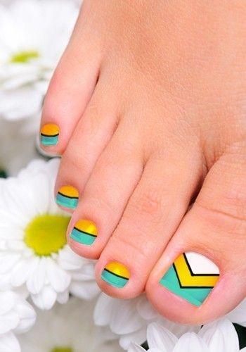 Blue Yellow Toenail Art Design