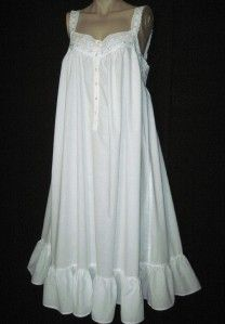 VICTORIA S SECRET LONG WHITE COTTON LAWN NIGHTGOWN~RUFFLED HEMLINE ... dbf04c4ef