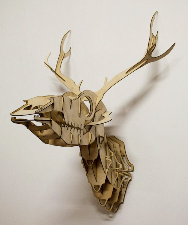 Plywood Taxidermy Skull Deer Trophy Cnc Router Modelos 3d Cnc