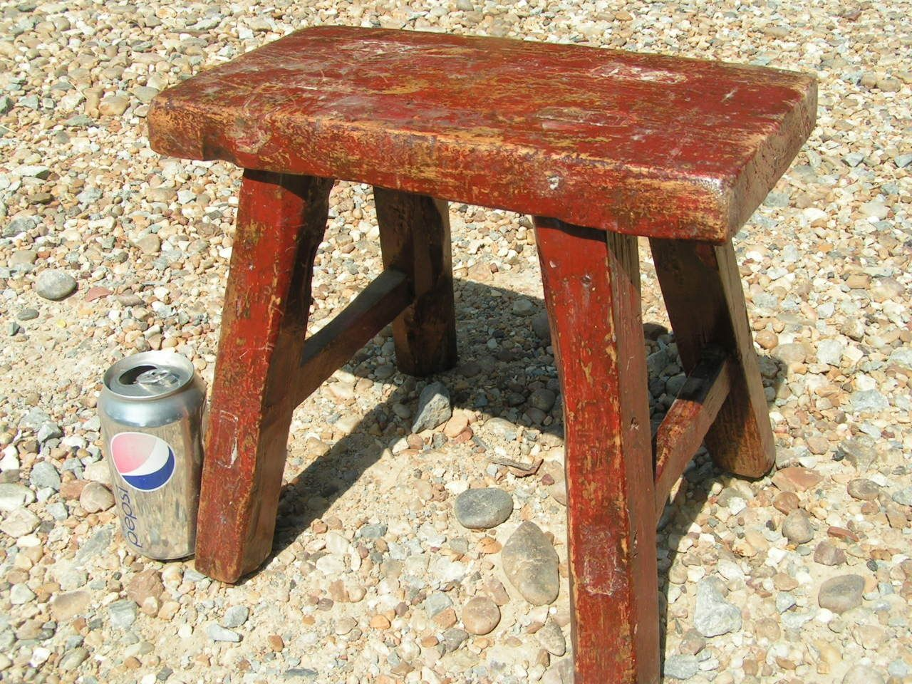 Old Asian Wooden Milking Farm Barn Stool Red Vintage
