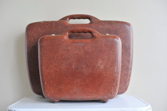Two Unique Fiberglass Suitcases in Rust from the by TheWildPlum, $210.00