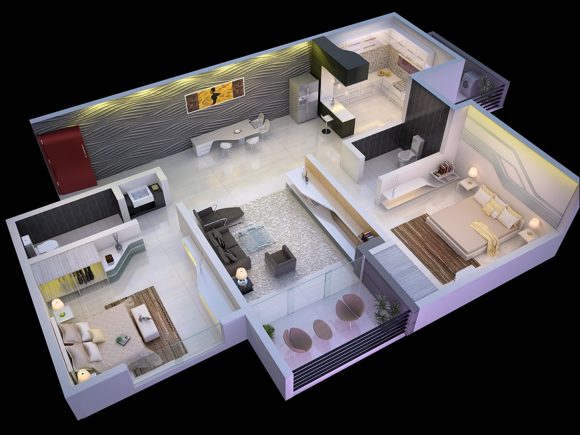 25 More 2 Bedroom 3d Floor Plans Bedroom Floor Plans Two Bedroom House Modern House Plans