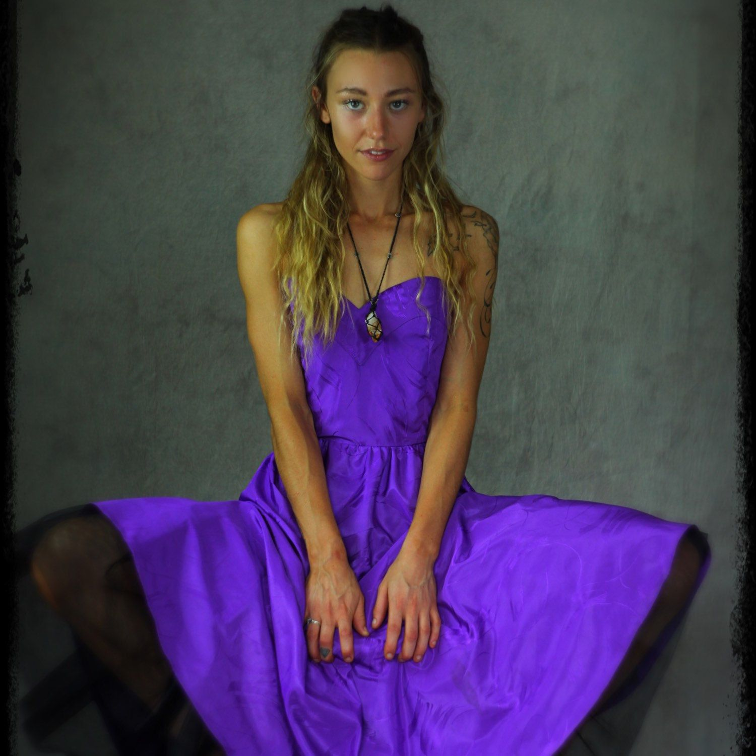 Vintage purple party dress / 80s glam bustier corset gown in violet ...