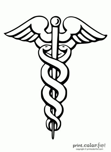 printable caduceus via printcolorfun doctor appreciation day rh pinterest com Artistic Caduceus caduceus medical symbol free vector