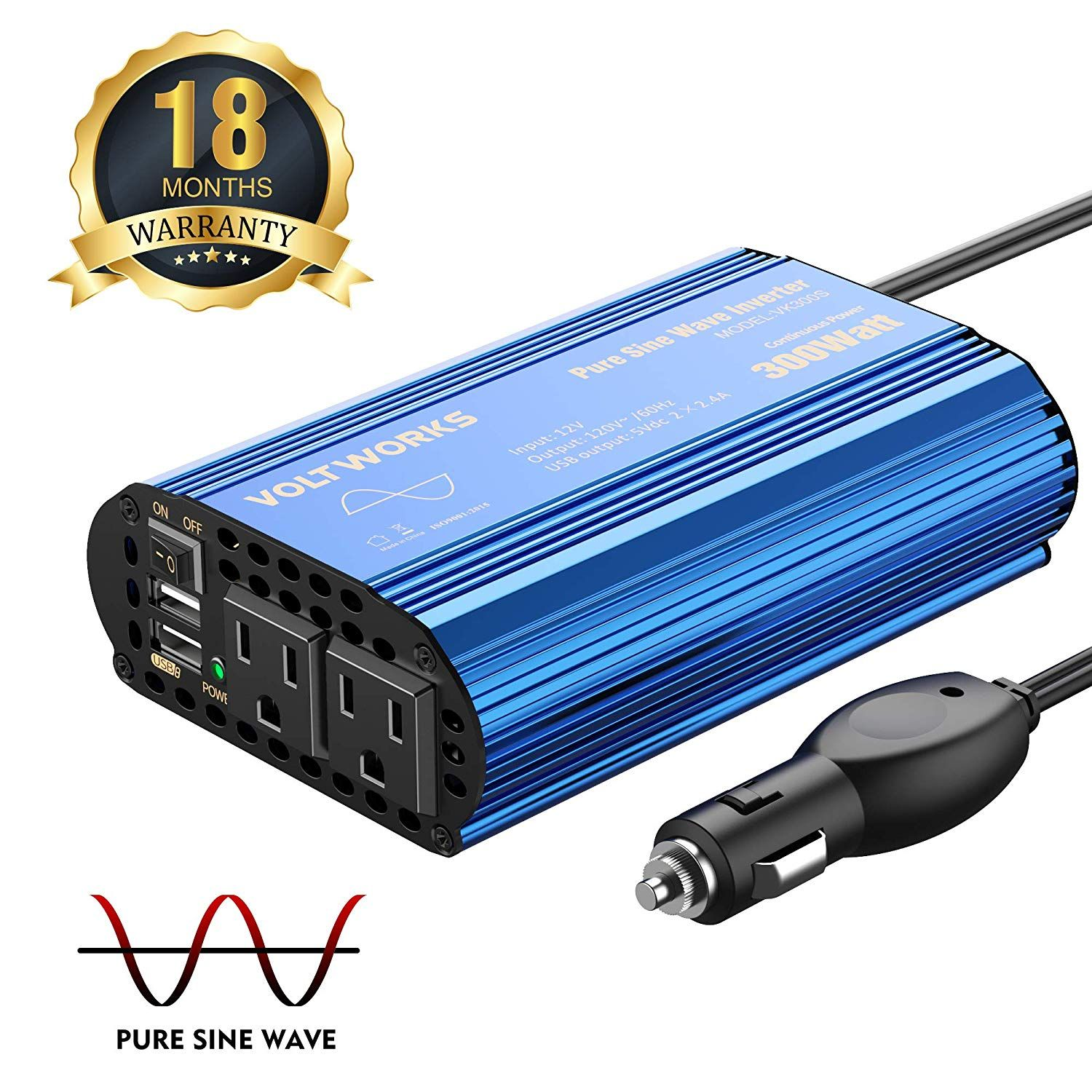 300w Pure Sine Wave Power Inverter For Car Truck Rv Adapter Dc 12v To Ac 110v 120v With Dual 4 8a Usb Port And Ac Outlets Power Inverters Sine Wave Cars Trucks