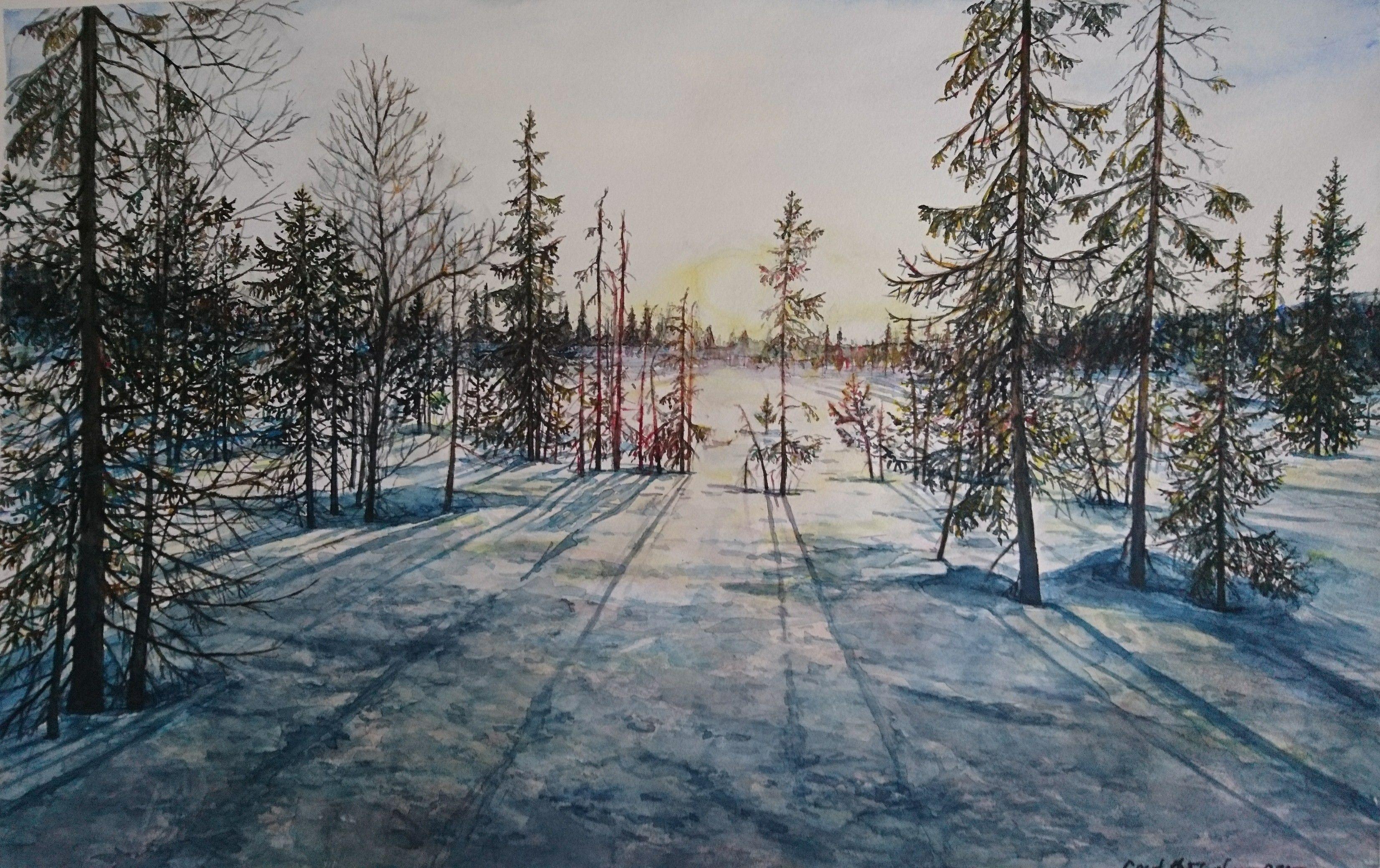 Watercolor, akvarell. Gerd Elgshøen. Mot lyset på veg mot fjellet i vakre Flendalen.
