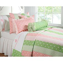 Finely Sched Cotton Gives This Fun Quilt Set A Stylish Unique Look Bedding Showcases Luxurious Light Pink And Green Colors