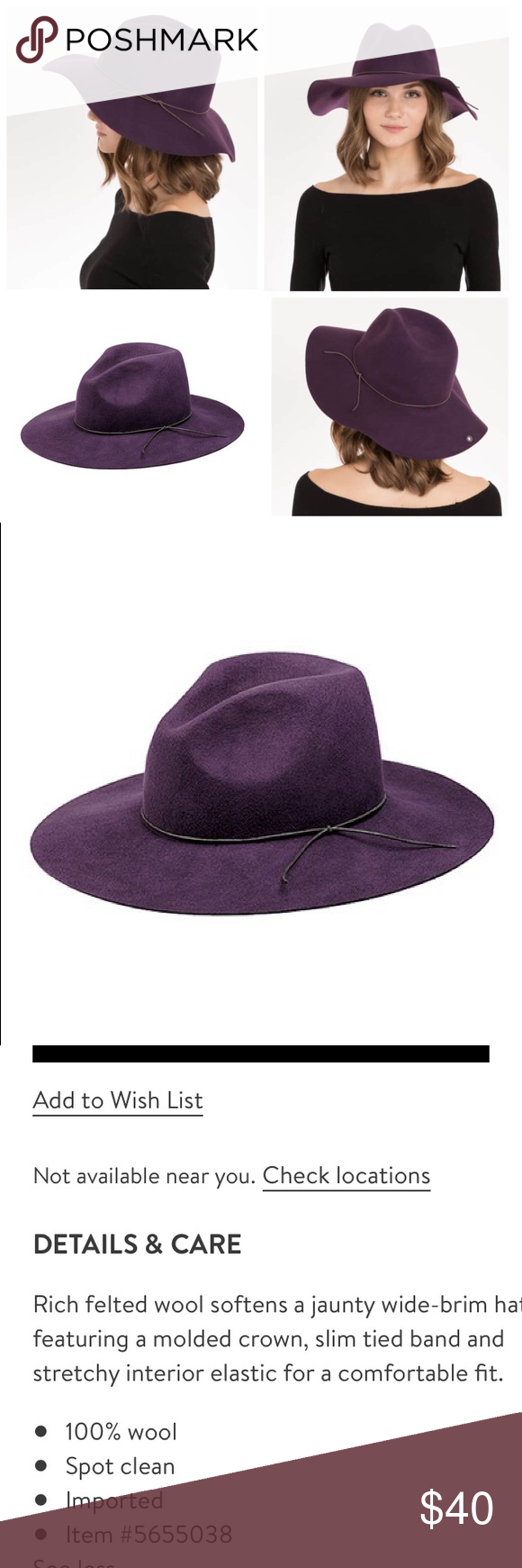 "a19cc21674cc1 Nordstrom Peter Grimm floppy wool wide brim hat Very gently used purple "" Zima"" wool"