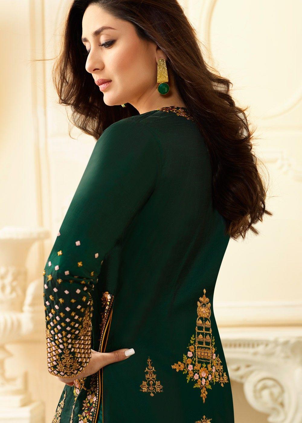 Bollywood Actresses in Anarkali  |Kareena In Green Anarkali Dress