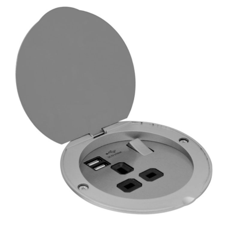 Floorb1 Recessed 13a Socket Switched With 2 Usb Charger Ports