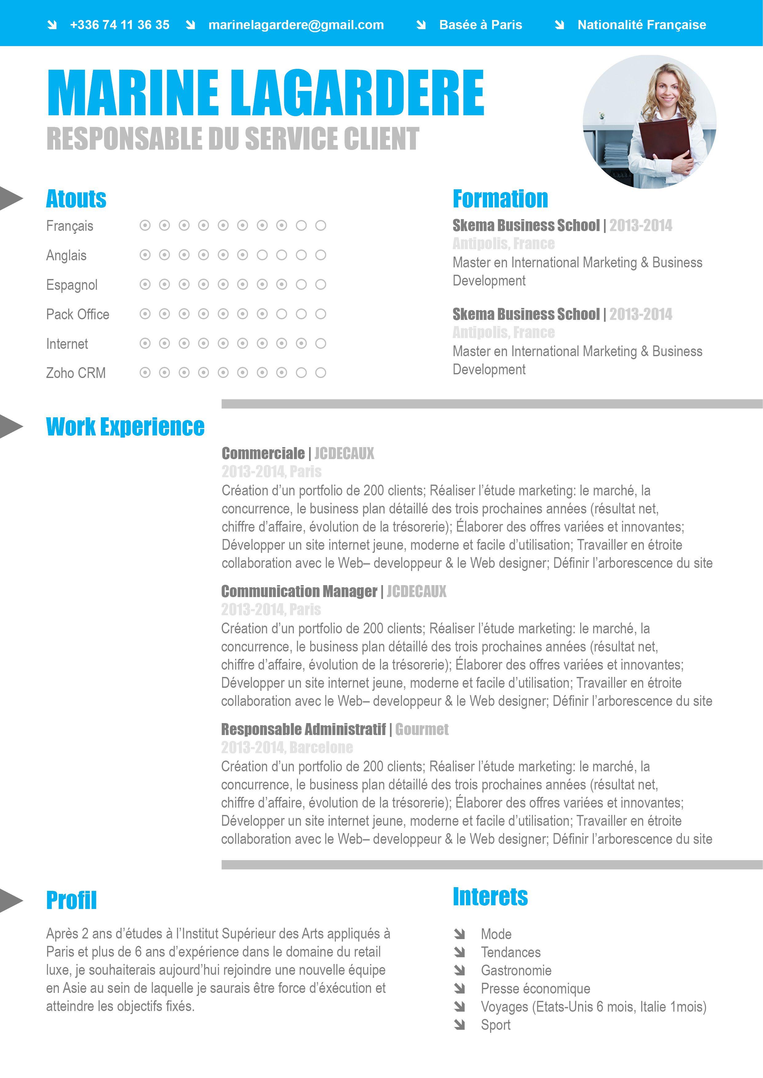 Cv Traditionnel Autonome Skema Business School Formation Francais Marketing