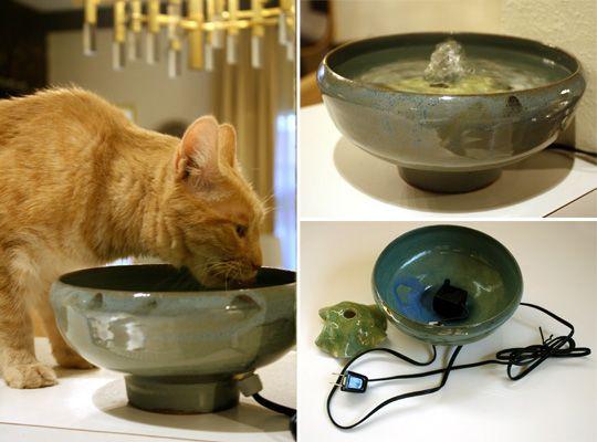 Handmade Ceramic Cat Drinking Fountains Hauspanther Cat Fountain Cat Drinking Cat Water Fountain