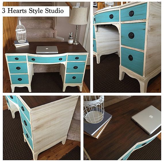 Peachy Turquoise And White Antique Desk Painted Furniture Denver Download Free Architecture Designs Crovemadebymaigaardcom