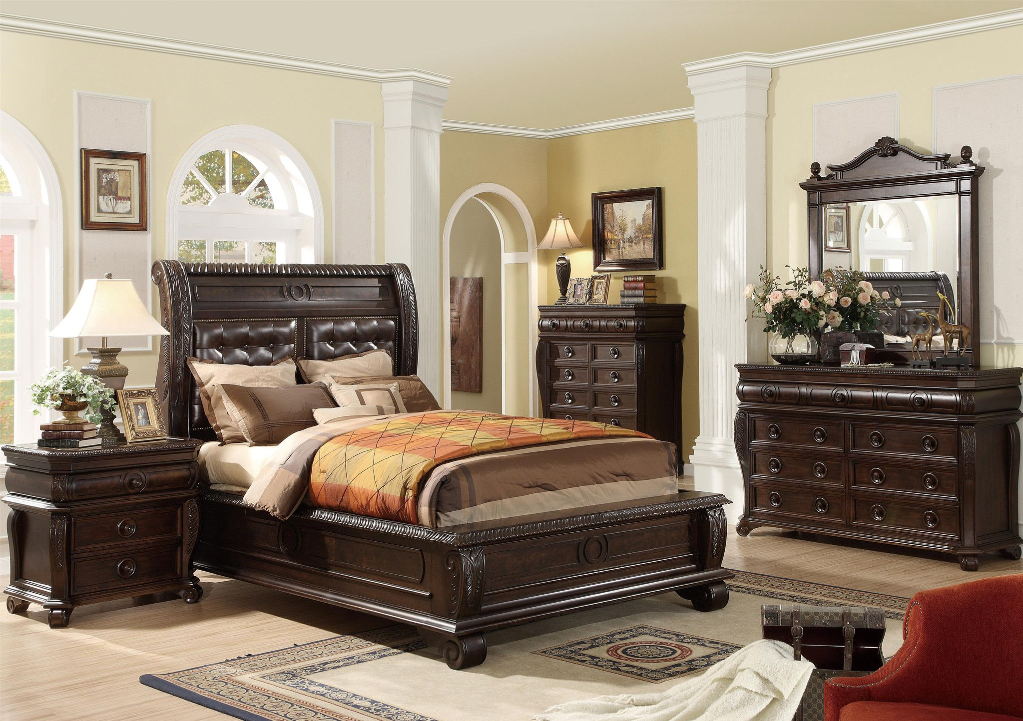 Cherry Mahogany Bedroom Furniture rich with traditional style and a wealth of detail, this bedroom