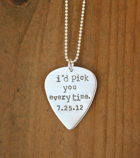 Guitar Pick Necklace Personalized Guitar Pick Sterling