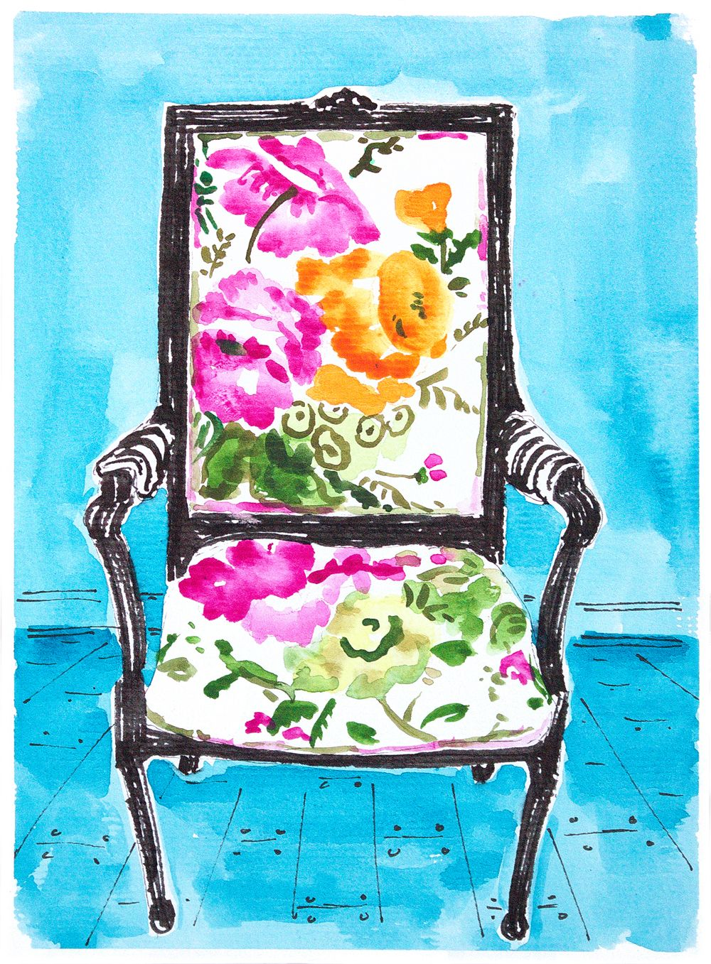 Home Decor Watercolour Painting Floral French Chair. Small Wall Art  Painting. Original Watercolour. Girls Room Art. Office Decor Painting.