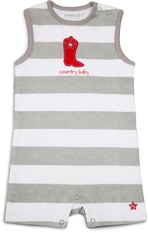 Pavilion 6-12 Month Gray Boot Country Baby Boy Romper